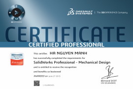 SOLIDWORKS PROFESSIONAL - MECHANICAL DESIGN
