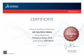 Specialist - Mechanical Design 2018